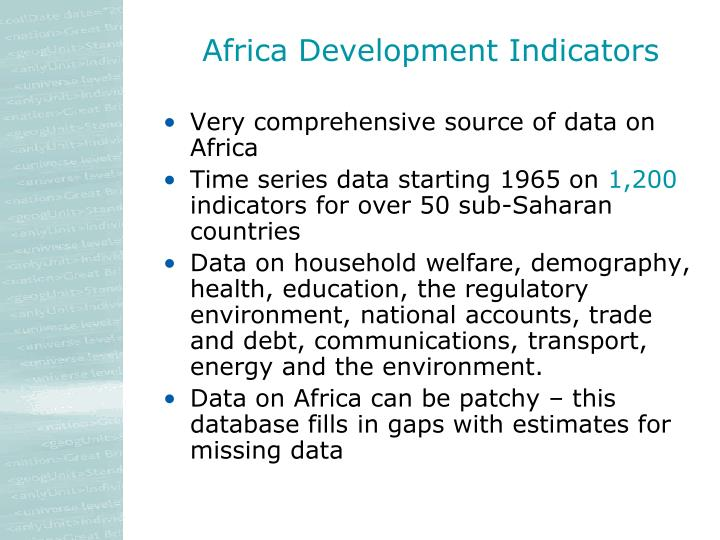 Africa Development Indicators