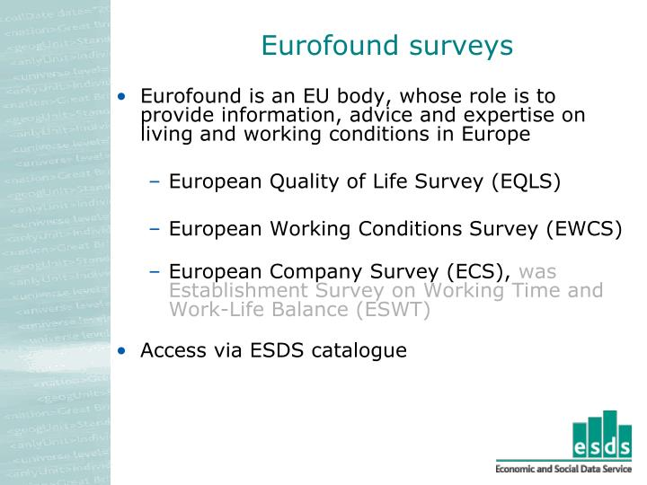Eurofound surveys