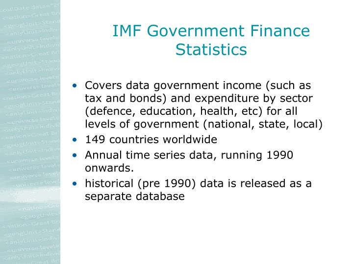 IMF Government Finance Statistics