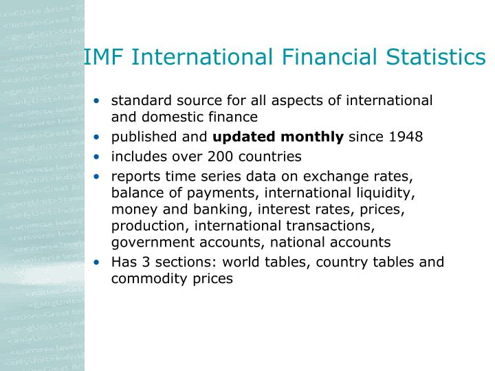IMF International Financial Statistics