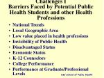 challenges i barriers faced by potential public health students and other health professions