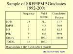 sample of srep pmp graduates 1992 2001