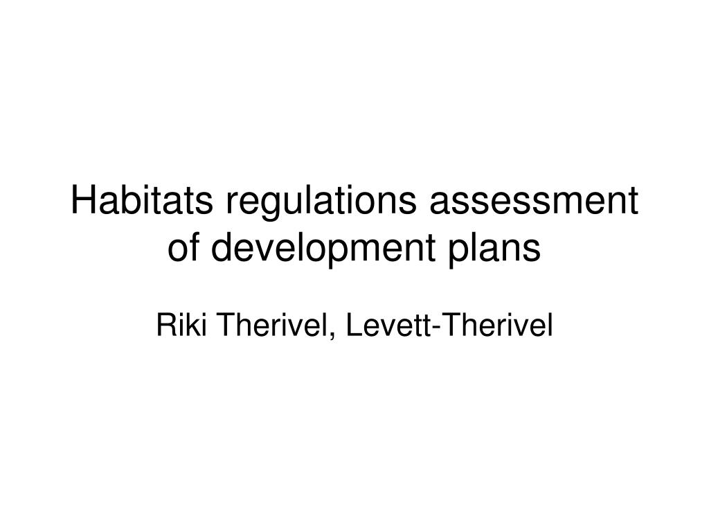 habitats regulations assessment of development plans l.