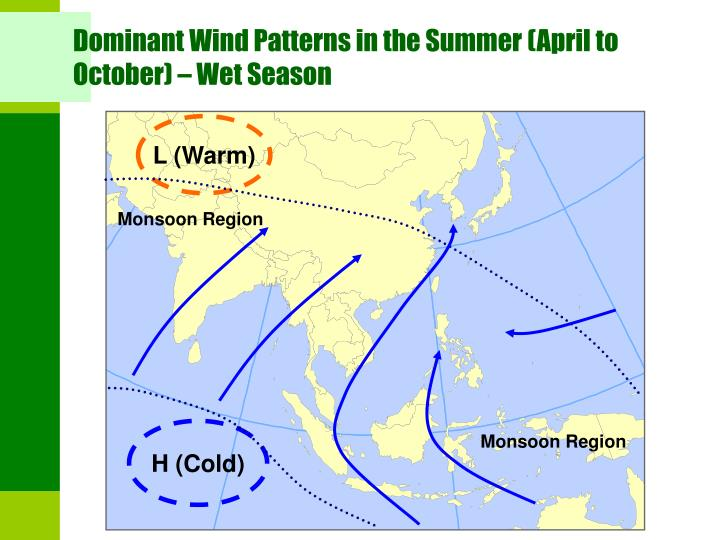 Dominant Wind Patterns in the Summer (April to October) – Wet Season