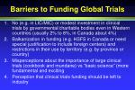 barriers to funding global trials