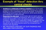 example of fraud detection thru central checks