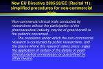 new eu directive 2005 28 ec recital 11 simplified procedures for non commercial trials
