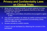 privacy and confidentiality laws on clinical trials