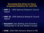 surveying the three or four proposed statistics for cold hits
