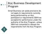 8 a business development program