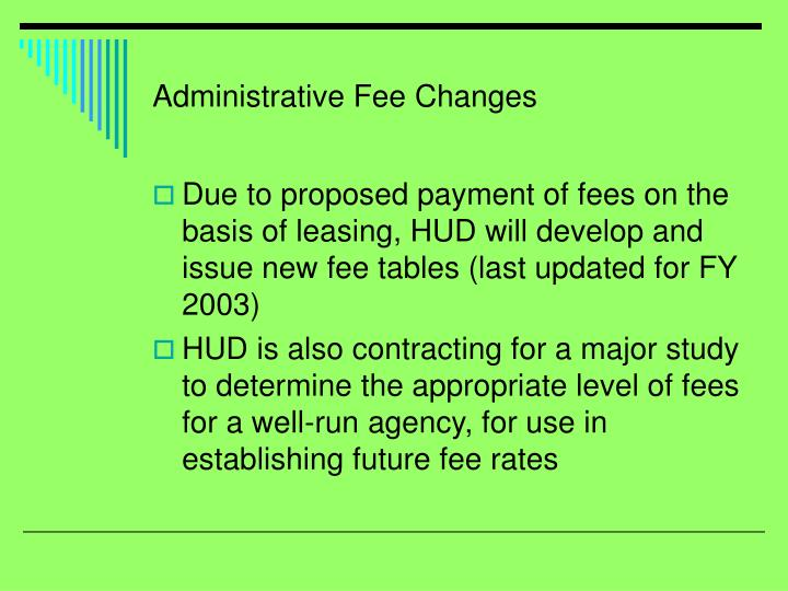 Administrative Fee Changes
