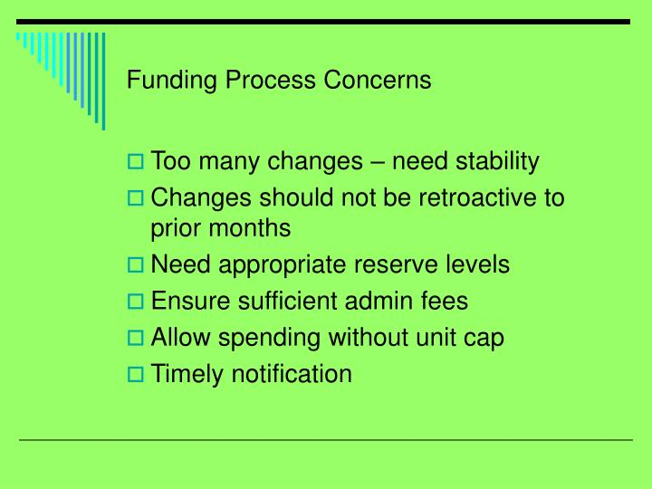 Funding Process Concerns