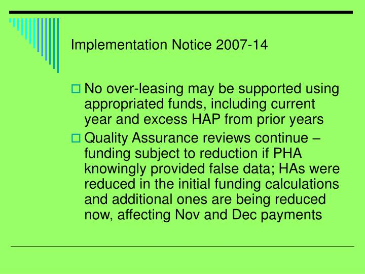 Implementation Notice 2007-14
