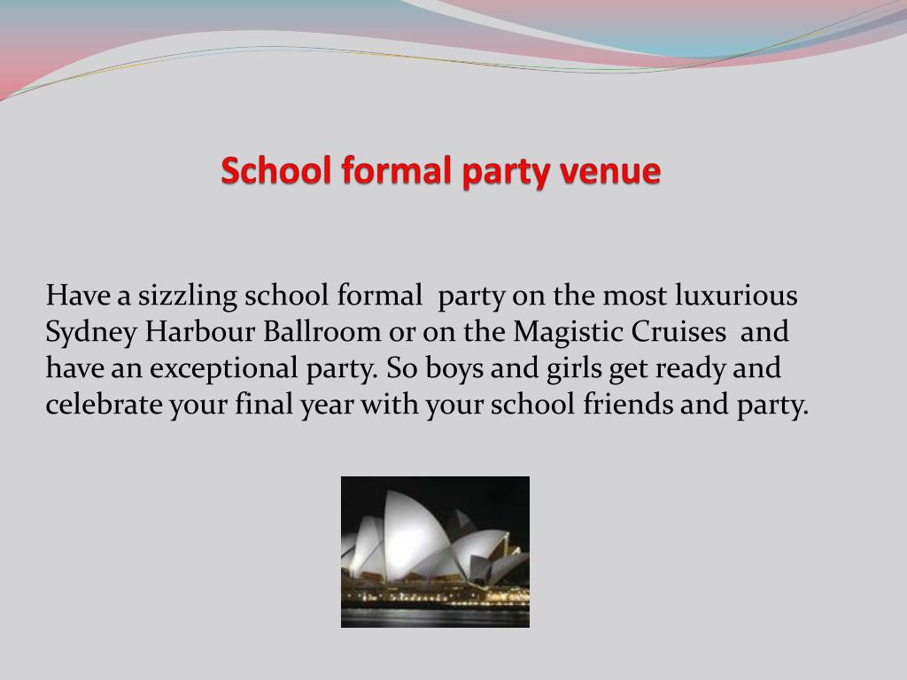 school formal party venue l.