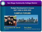 budget development issues 2007 2008 2008 2009