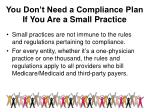 you don t need a compliance plan if you are a small practice