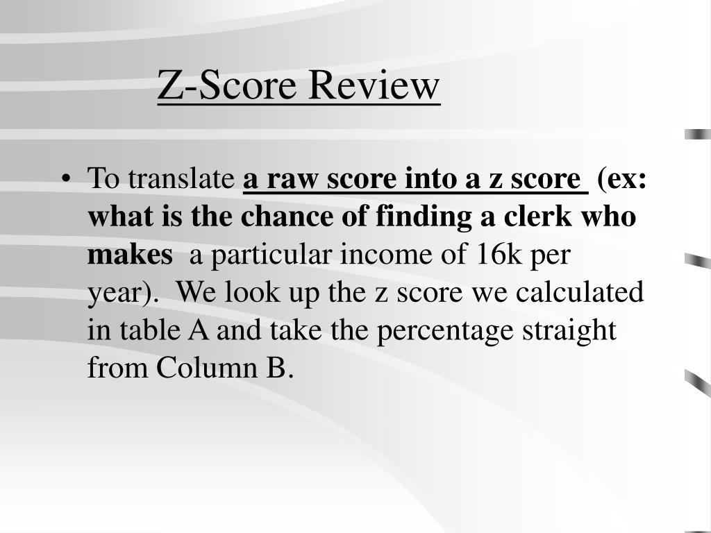 Z-Score Review