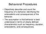 behavioral procedures