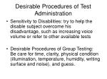 desirable procedures of test administration