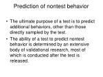 prediction of nontest behavior