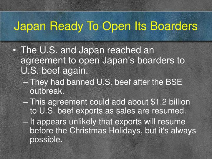 Japan ready to open its boarders