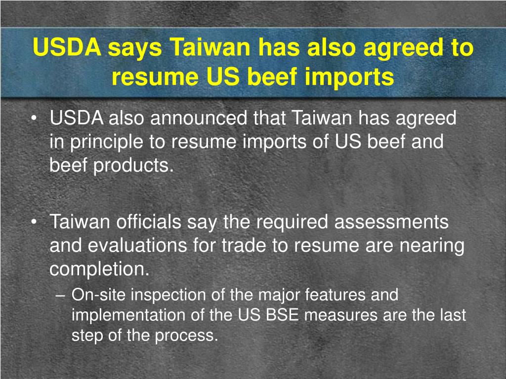 USDA says Taiwan has also agreed to resume US beef imports
