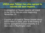 usda says taiwan has also agreed to resume us beef imports12