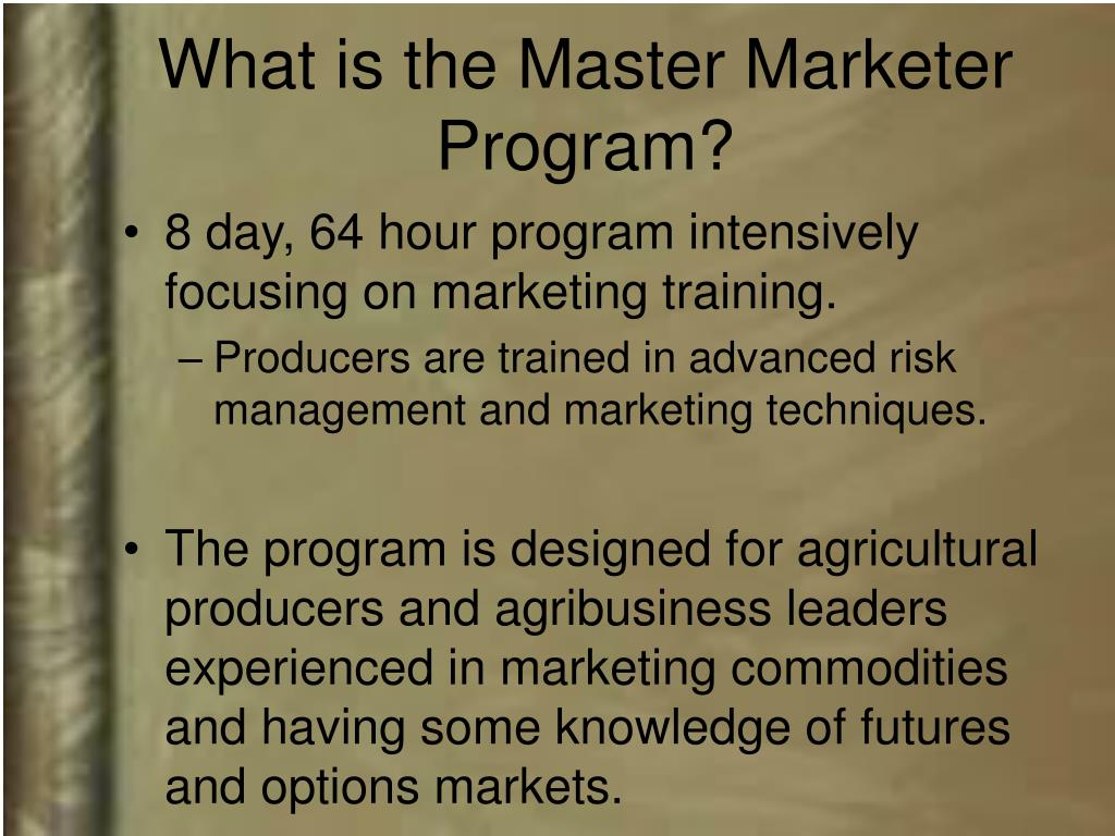 What is the Master Marketer Program?