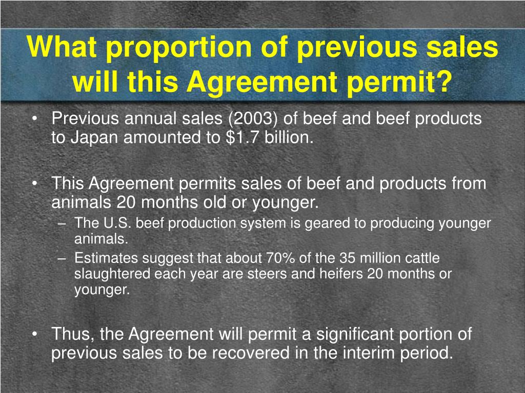 What proportion of previous sales will this Agreement permit?