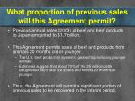 what proportion of previous sales will this agreement permit