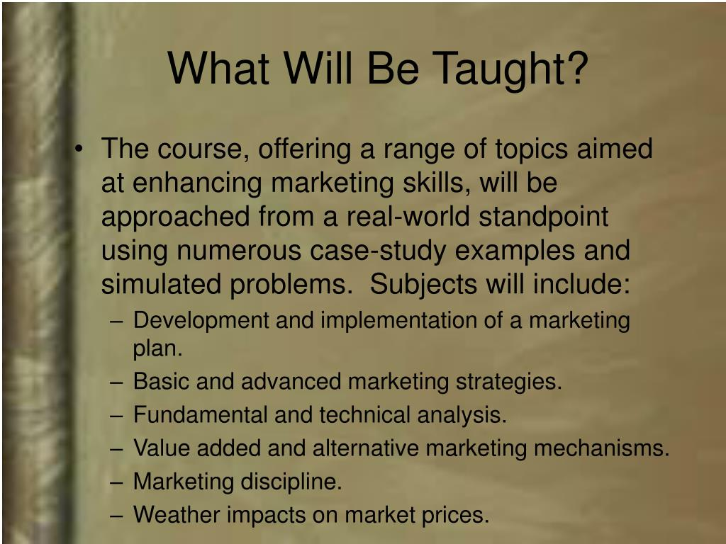 What Will Be Taught?