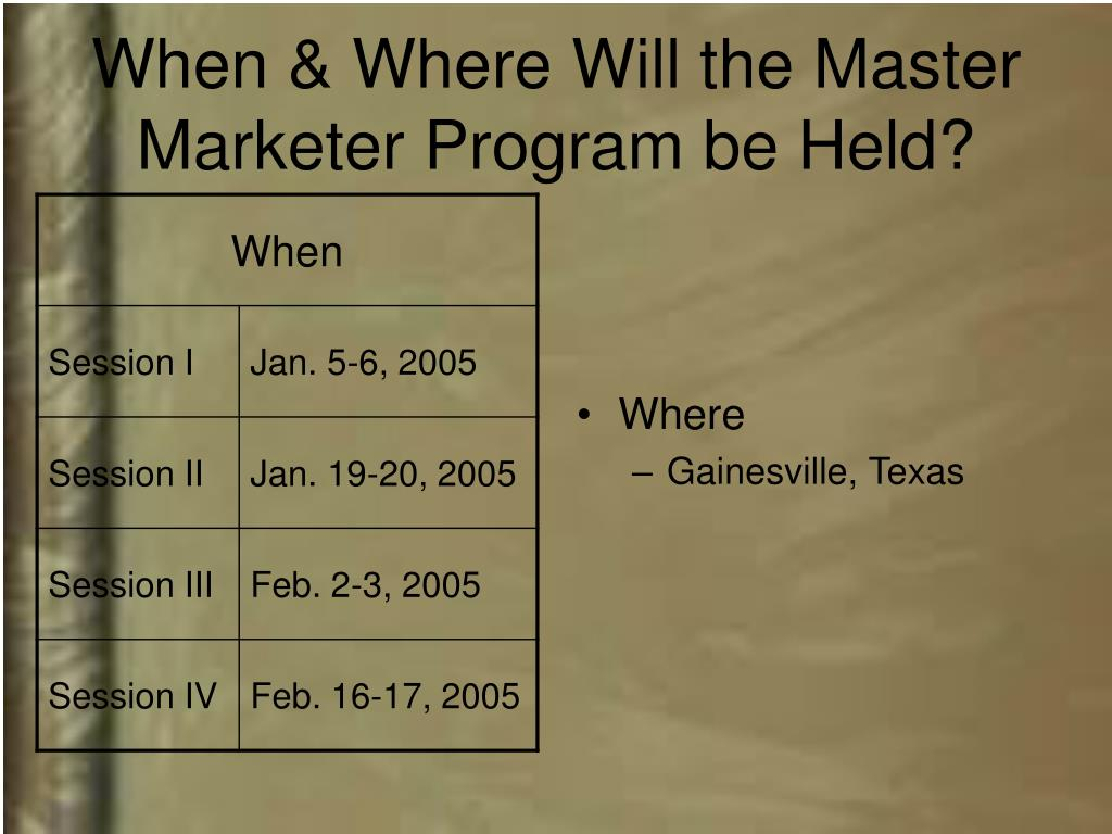 When & Where Will the Master Marketer Program be Held?