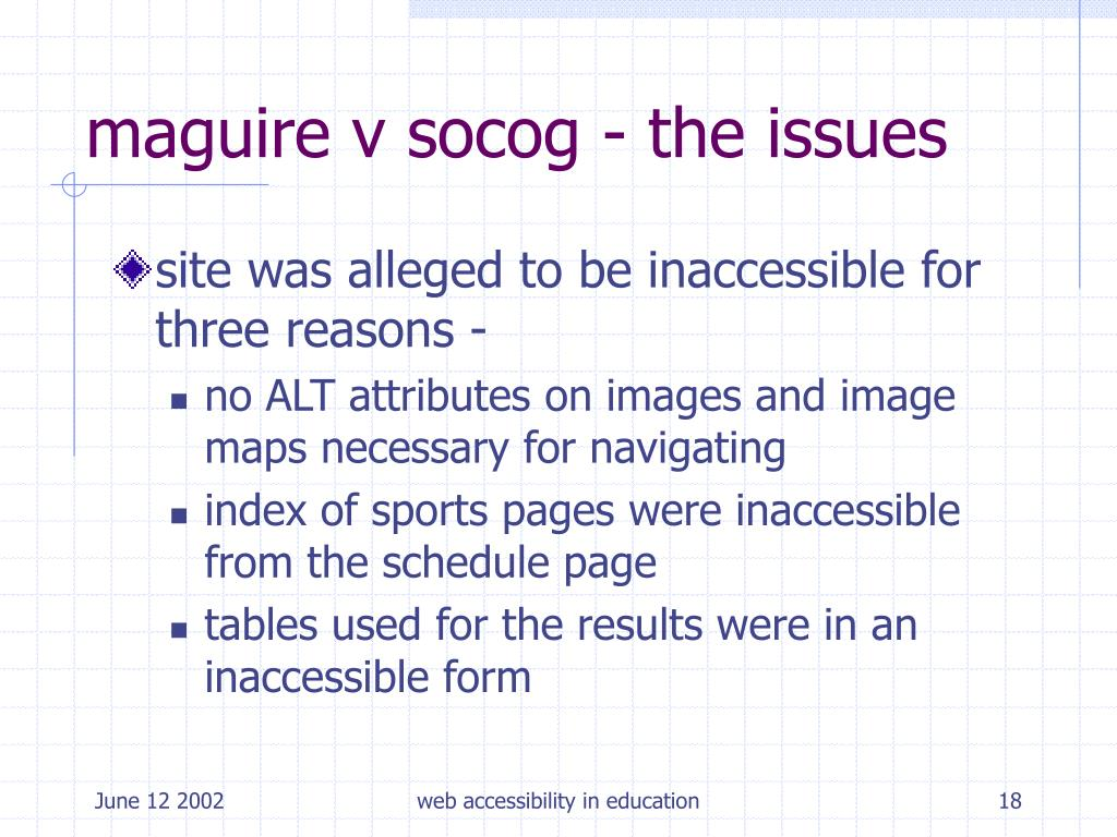 maguire v socog - the issues
