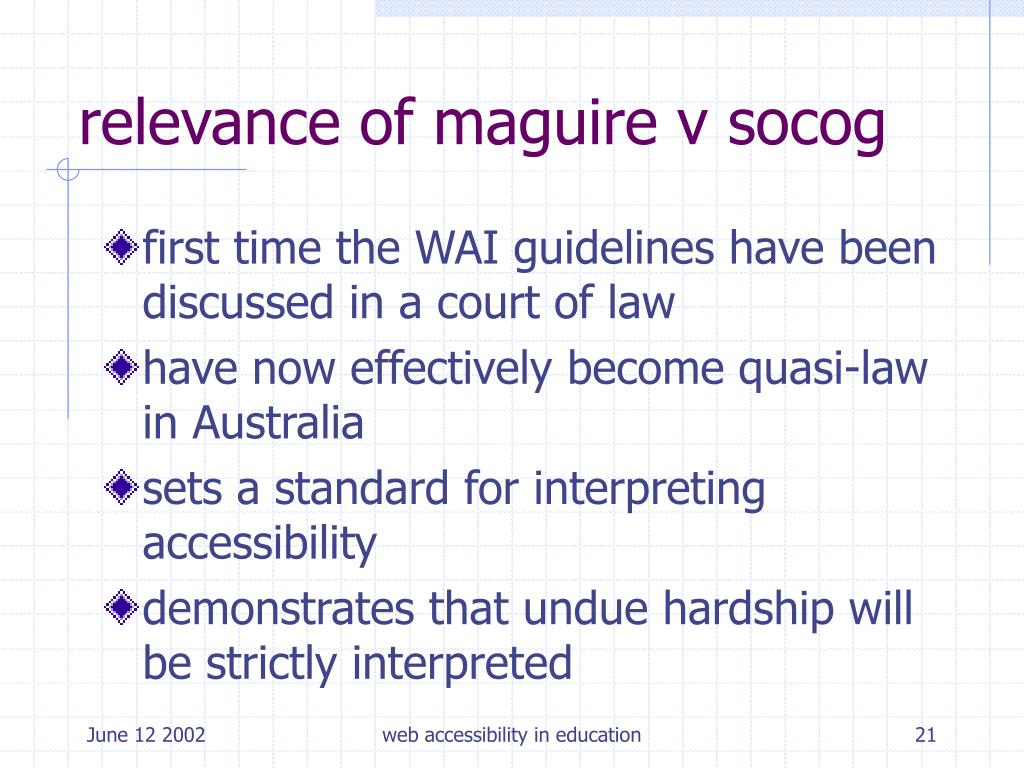 relevance of maguire v socog