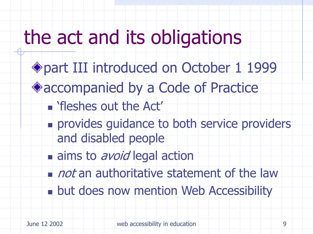 the act and its obligations