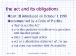 the act and its obligations9