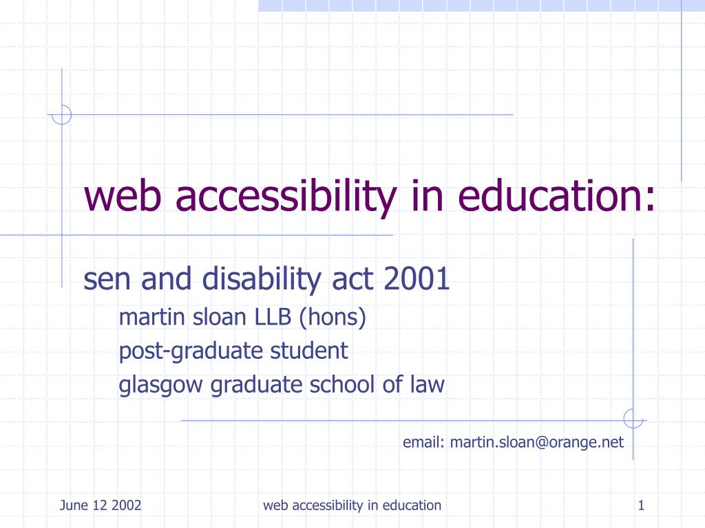 web accessibility in education l.
