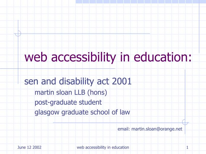 Web accessibility in education