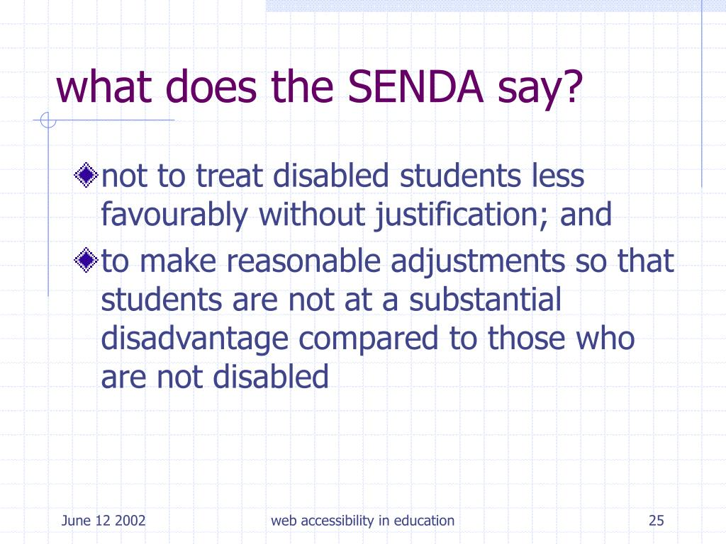 what does the SENDA say?