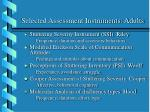 selected assessment instruments adults
