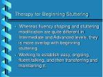 therapy for beginning stuttering
