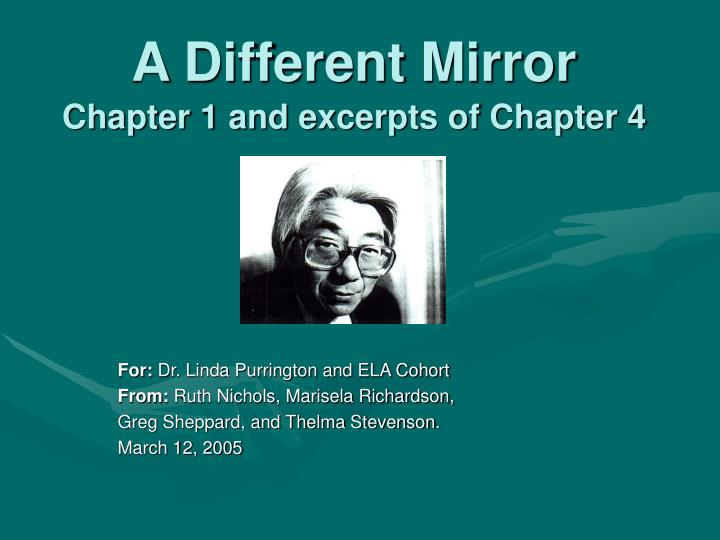 a different mirror chapter 1 and excerpts of chapter 4 n.