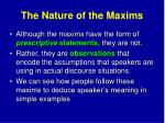 the nature of the maxims