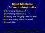 mind matters 5 curriculum units