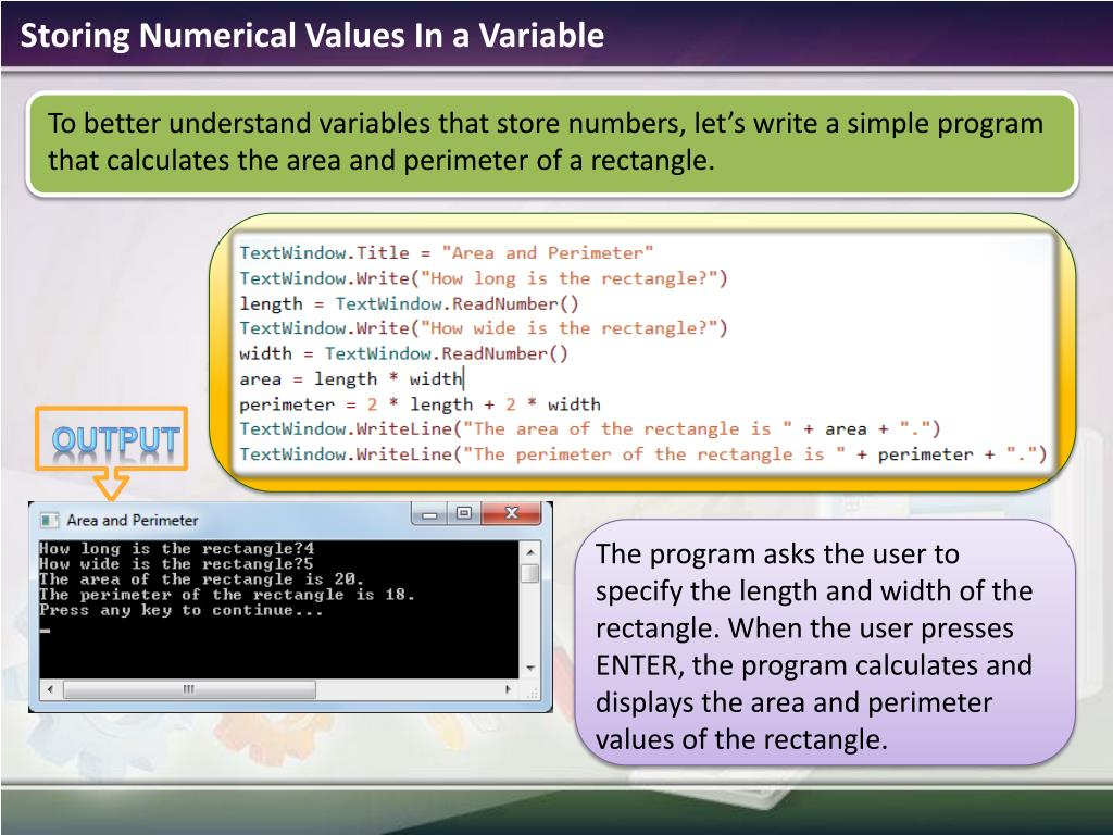 Storing Numerical Values In a Variable