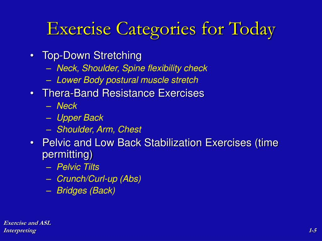 Exercise Categories for Today