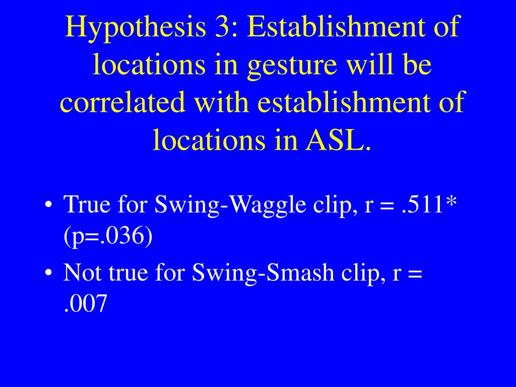 Hypothesis 3: Establishment of locations in gesture will be correlated with establishment of locations in ASL.