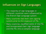 influences on sign languages