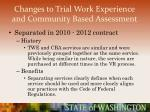 changes to trial work experience and community based assessment