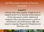 job placement levels of service examples49